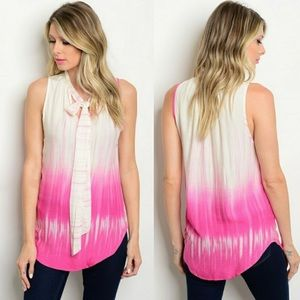 Tops - New Arrival ! Ombré Ivory and Fuchsia Neck Tie Top